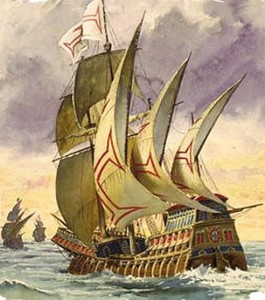 Vasco da Gama's ship rounding the Cape of Good Hope en route to India in 1497.