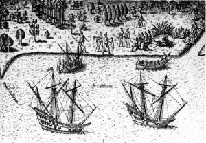 The French arrive in Florida, from Theodor de Bry, Grand Voyages (1591).